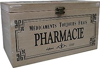 khevga - Caja con Tapa de Madera y decoración con Motivos de Farmacia (23 x 13 x 13 cm)