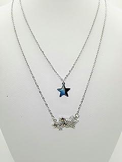 Collana doppia acciaio inossidabile color argento con pendenti a stella liscia e satinata con strass handmade made in ital...