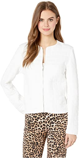 Viscose Quilted Long Sleeve Collarless Zip-Up Jacket