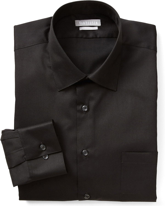 Van Heusen Mens Lux Sateen Regular Fit Button Up Dress Shirt Black 15