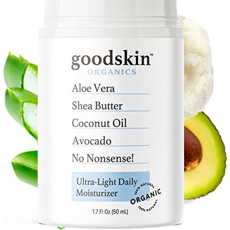 Organic Face Moisturizer for Women and Men - Unscented Natural Hydrating Day & Night Face Cream for Dry, Oily & Sensitive Skin - Non-Greasy Anti Wrinkle Anti Aging Skin Care by Goodskin - 1.7oz