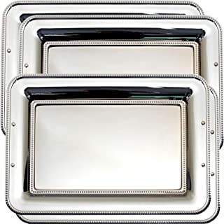 Maro Megastore (Pack of 4) 17.7-Inch x 13-Inch Oblong Chrome Plated Serving Tray Simple Modern Mirror Decor Holiday Wedding Birthday Buffet Party Dessert Food Snack Wine Platter Plate 1809 L Tla-022