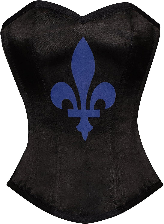 Black Satin bluee Flowerdeluce Print Goth Plus Size WaistShaper Overbust Corset