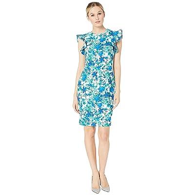 Calvin Klein Floral Print Ruffle Arm Sheath Dress (Atlantis Multi) Women