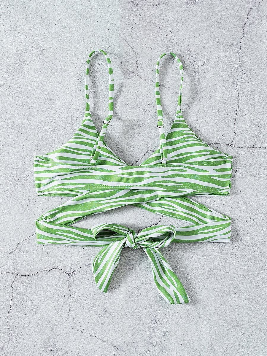 NICEAPR Latest item Bikini Zebra Stripe Criss : Cross Mult Color specialty shop Top