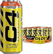 Cellucor C4 Original Carbonated Zero Sugar Energy Drink, Pre Workout Drink + Beta Alanine, Orange Slice, 16 Fl. Oz (Pack of 12)