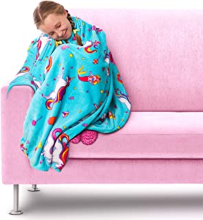 GirlZone Unicorn Fleece Blanket Throw Blanket for Girls,...