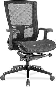 Lorell Checkerboard Design High-Back Mesh Chair, Black