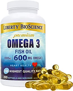 Liberty Bioscience Extra Strength Omega 3 Fish Oil Supplement, 600mg of Omega-3 per Softgel, 200mg DHA 300mg EPA Prenatal ...