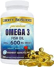 Liberty Bioscience Extra Strength Omega 3 Fish Oil Supplement, 600mg of Omega-3 per Softgel, 200mg DHA 300mg EPA Prenatal Health, 200 Softgels
