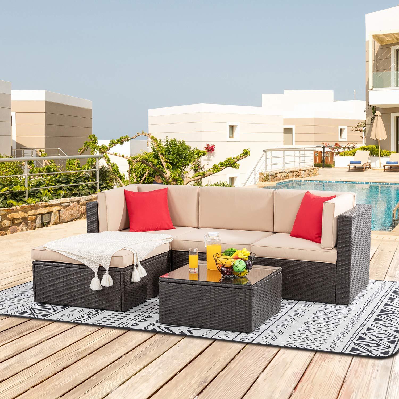 Shintenchi 5 Pieces Patio Furniture Sets Outdoor All-Weather Sectional Patio Sofa Set PE Rattan Manual Weaving Wicker Pati...