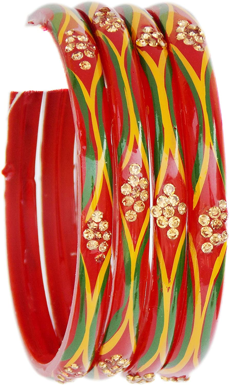 Indian Glass Bangles for Women,Girls Ethnic Partywear Red Glass Bangles Set of 4p,Bangles Bracelets for Women