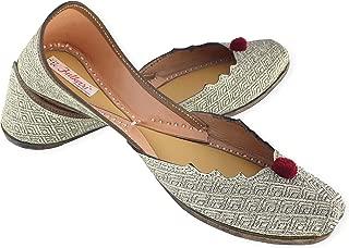 Fulkari Women's Susan Genuine Soft Leather Jutis | Bite and Pinch Free Jutis | Punjabi Formal Jutti Flat Ladies Mojari | Bridal Ethnic Flats |