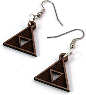 Triforce Earrings made of Sustainable Walnut - Small (.8