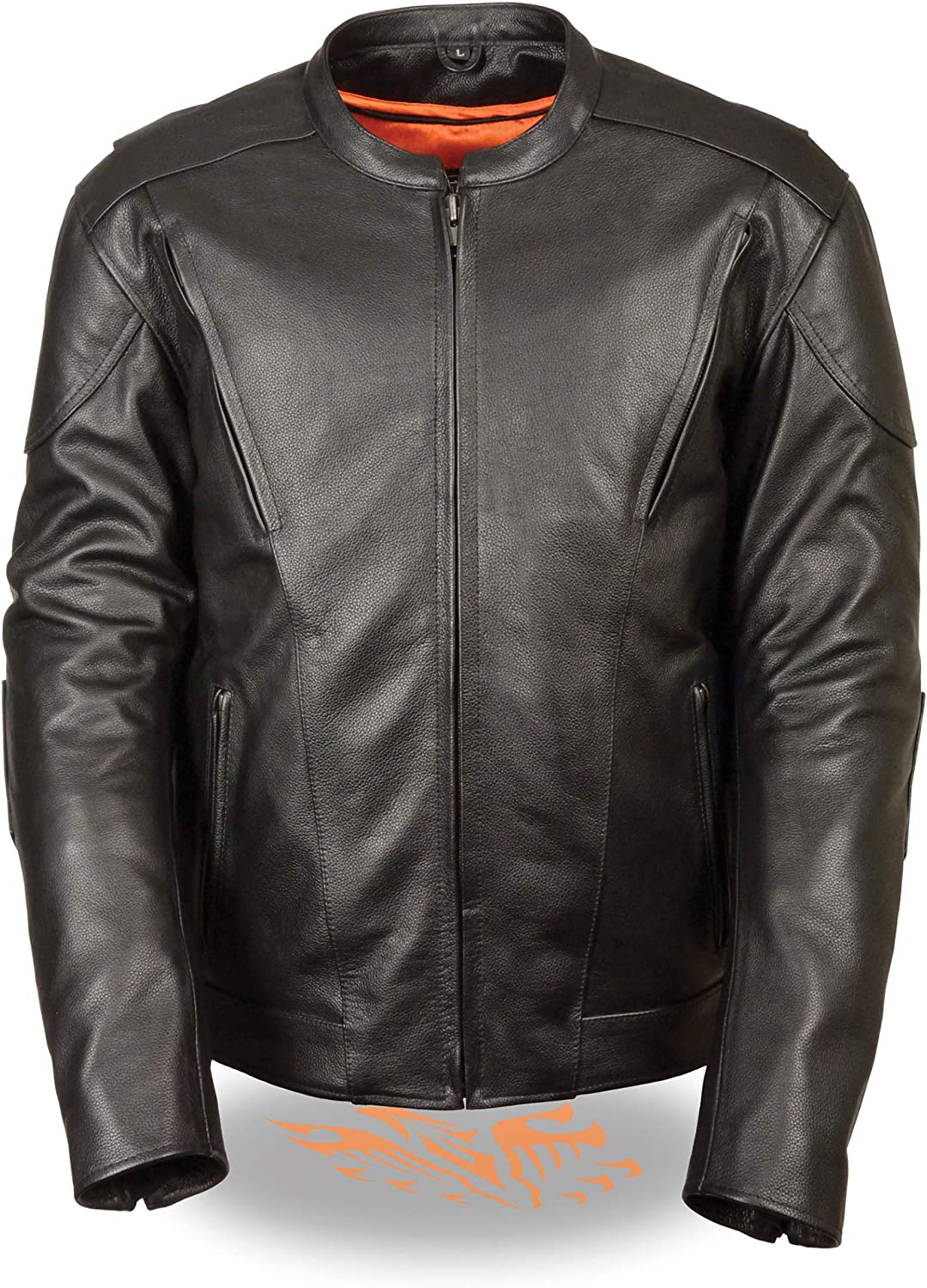 Mens Leather Vented Scooter Jacket with Kidney Back Padding, Black Size S