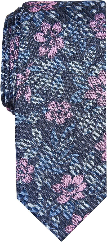 BAR III Mens Pink Floral Slim Neck Tie