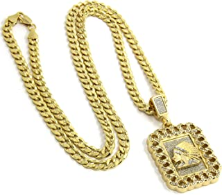 Jewel Town Mens Gold Plated Cuban Style Hip-Hop Indian Head Pendant 24
