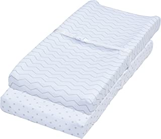 Changing Pad Covers, 2 Pack Chevron & Stars Fitted Soft Jersey Cotton Bedding