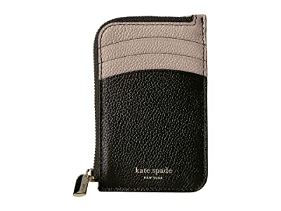 Kate Spade New York Margaux Zip Card Holder (Black/Warm Taupe) Coin Purse