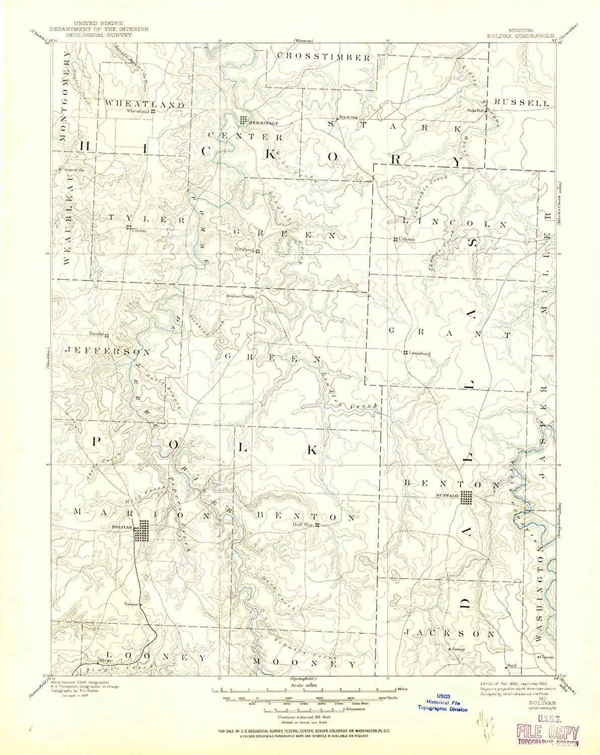 Bolivar MO topo map, 1 125000 Scale, 30 X 30 Minute, Historical, 1892, Updated 1950, 20.8 x 16.6 in