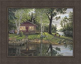 Simpler Times by Kim Norlien 24x30 Log Cabin Lake Fishing Boat Dock Summer Landscape Framed Art Print Picture