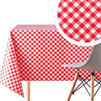 Gingham Check Printed Table Cloth Material Kitchen Wipe Clean Waterproof Fabric