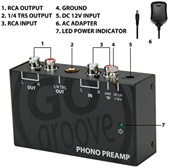 GOgroove Mini Phono Turntable Preamp Preamplifier with 12 Volt AC Adapter, RCA Input for Vinyl Record Player - Compat...