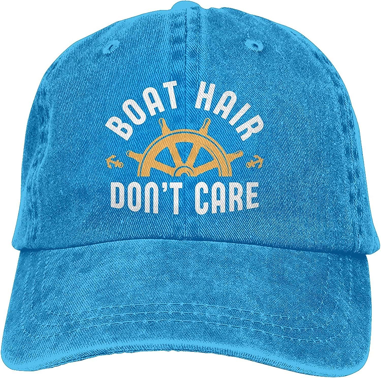 Boat Hair Don't Care Cowboy Hat,Washed Cotton Baseball Cap Adjustable Baseball Caps Sun Hat(Unisex) Blue