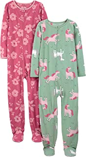 Simple Joys by Carter's Girls' Little Kid 2-Pack Loose-fit Fleece Footed Pajamas