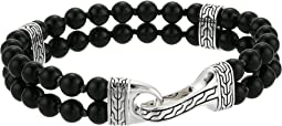 Classic Chain Double Row Bead Bracelet with Black Onyx