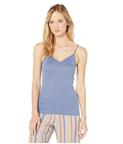 Hanro Cotton Seamless V-Neck Camisole (Caribbean Blue) Women