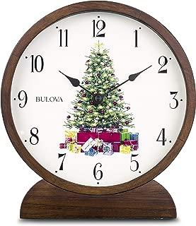 Bulova B1866 Holiday Sounds Mantel Clock, Walnut Stain