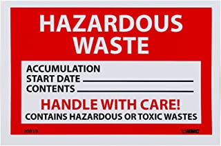NMC HW19 Hazardous Waste Container Label,