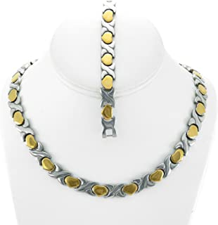 NEW 11mm Width Womens Two Tone (Gold & Silver) XOXO Stampato Necklace and Bracelet Set 18/20