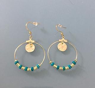 Créoles Heishi, Boucles d'oreilles créoles dorées en acier inoxydable et perles Heishi or et turquoise, bijou femme, bijou...