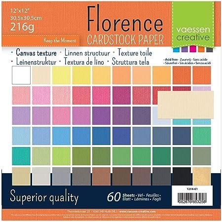 Vaessen creative 1214-61 Florence Papier Cartonné, 30x2 Couleurs, 216g, 30,5 x 30,5 cm, 60 Feuilles, Surface Texturée, pour Peindre, Scrapbooking et Plus, Multi