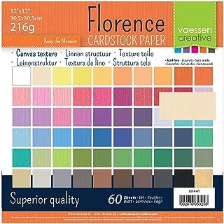 Vaessen creative 1214-61 Florence Papier Cartonné, 30x2 Couleurs, 216g, 30,5 x 30,5 cm, 60 Feuilles, Surface Texturée, pou...