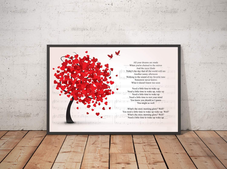 Amazon.com Kodora Decor Morning Glory Song Lyrics Lovely Tree ...