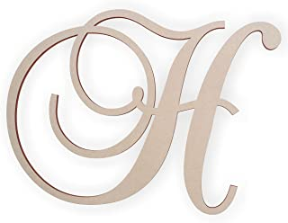 Jess and Jessica Wooden Letter H, Wooden Monogram Wall Hanging, Large Wooden Letters, Cursive Wood Letter