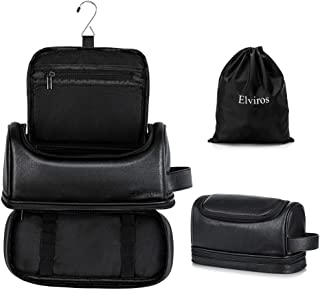 Toiletry Bag, Mens Leather Travel Organizer Kit with hanging hook, Large Water-resistant Toiletries Bathroom Shaving Bags for Women, and one Drawstring Shoes Bag (Black)