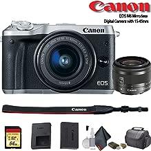 Canon EOS M6 Mirrorless Digital Camera with 15-45mm Lens (International Model) (Silver) (1725C011) - Starter Bundle