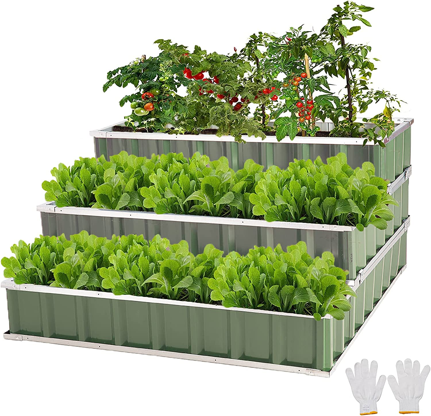 FORTUNO 3 Tier Raised Garden Bed Metal Elevated Planting Box Kit 46.5x46.5x23.6 Inch Outdoor Patio Steel Planter for Vegetables, Flowers, Herbs, Green