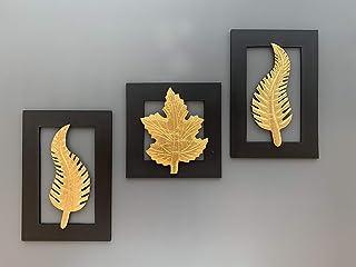 Maple Craft Black Frame Set of 3 Leaf Wall Art -Brass Leaf Woodfor Home Decor/Living Room/Bed Room (2-Curve 1-Hazel)