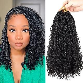 7 Packs Boho Box Braids Crochet Hair 12 Inch Bohemian Crochet Box Braids Curly Ends Bob Box Braid Hair for Black Women (1...