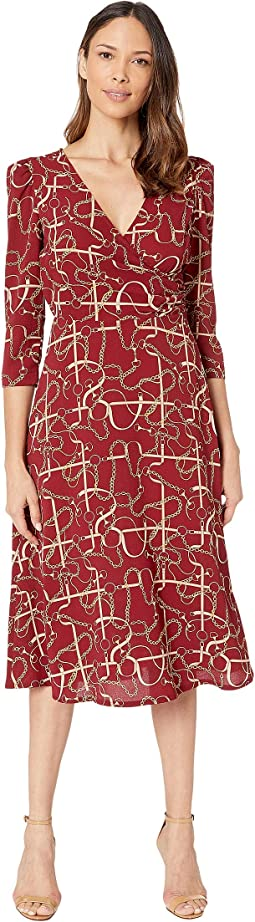 Status Print 3/4 Sleeve Lightweight Stretch Crepe Fit and Flare Dress