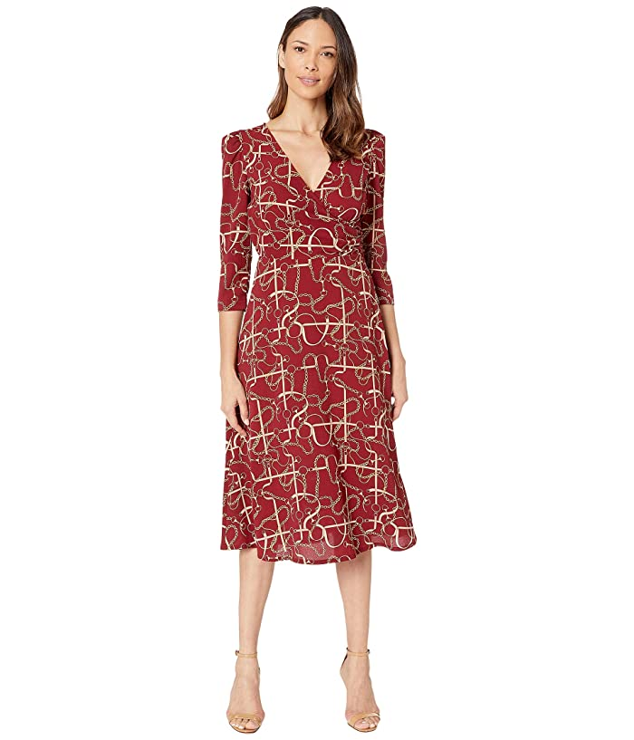 Donna Morgan  Status Print 3/4 Sleeve Lightweight Stretch Crepe Fit and Flare Dress (Wine) Womens Dress