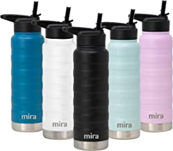 MIRA 25 Oz Stainless Steel Vacuum Insulated Ridge Water Bottle | Double Walled Thermos Flask | 24 Hours Cold, 12 Hours Hot | Reusable Metal Water Bottle | Leak-Proof Sports Bottle | Black