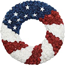 ranspac Silk Rose Americana Wreath, Patriotic Wreath 21 Inch Diameter, Roses and Stars, Red White and Blue 4th of July Decorating