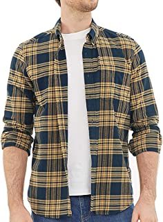 Dubinik® Camisa de franela a cuadros para hombre, ajuste normal, manga larga, para el tiempo libre