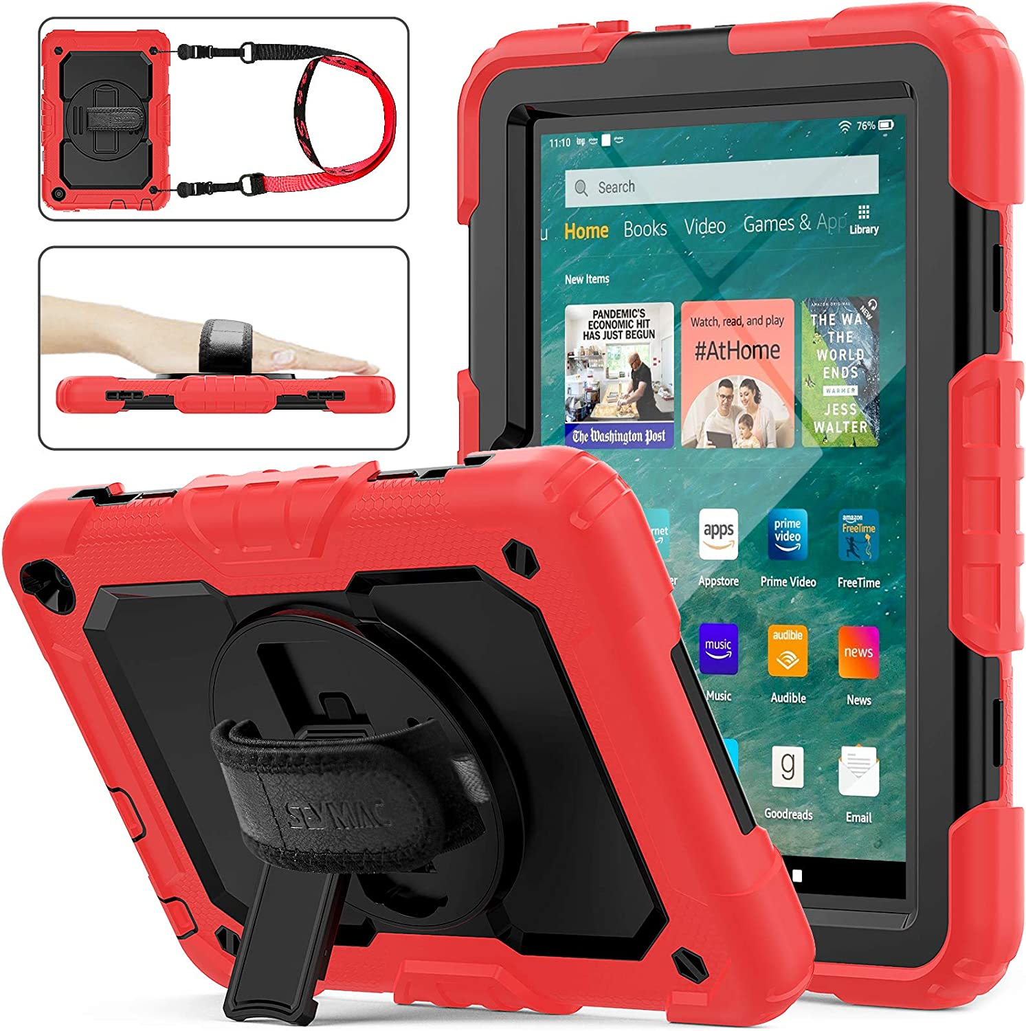 SEYMAC stock Case for FireHD 8/8Plus (10th Generation 2020 Release), Full-Body Drop-Proof Case with 360 Degrees Rotating Stand [Pen Holder][Screen Protector] for FireHD 8/8 Plus 10th Gen (Black+Red)